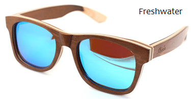 Polarised wooden blue sunglasses